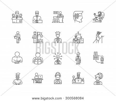 Chairman Line Icons, Signs, Vector Set, Outline Illustration Concept