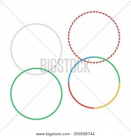 Gymnastic Hoop Isolated Hula Fitness Object. Hoola Circle Bangle Striped Hulahoop