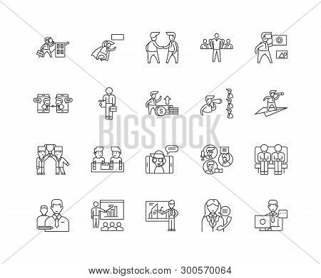 Commodity Brokerage Service Line Icons, Signs, Vector Set, Outline Illustration Concept