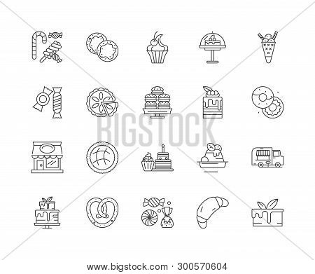 Confectionary Products Line Icons, Signs, Vector Set, Outline Illustration Concept