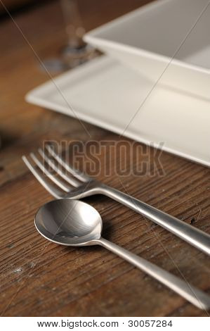 Close-up Of Silverware , On The Dining Table.