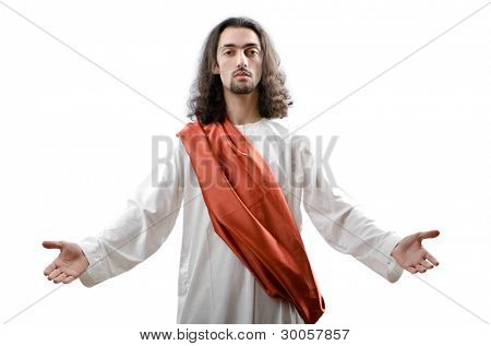 Jesus Christ personifacation isolated on the white