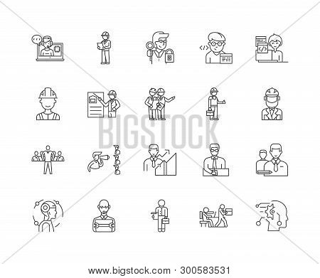 Inspection Line Icons, Signs, Vector Set, Outline Illustration Concept