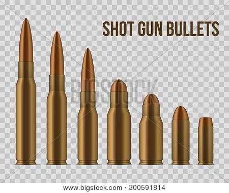 Creative Vector Illustration Of Realistic Shot Gun Bullets, Holes Isolated On Transparent Background