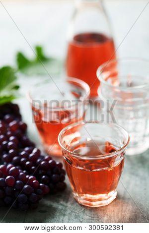 Rose wine in rustic glasses