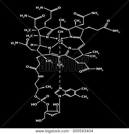 Vitamin B12. Cyanocobalamin Molecular Chemical Formula. Infographics. Vector Illustration On Black B