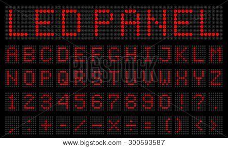 Creative Vector Illustration Of Led Digital Alphabet, Font, Electronic Number Digital Display, Lette