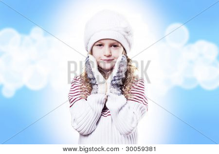 Winter Girl, Abstract blue background