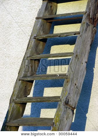 wooden ladder with shadows