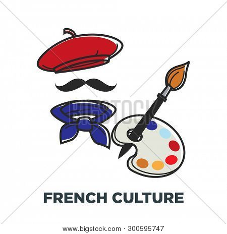Beret and neckerchief paint brush and palette French culture symbols of France  stereotypical outfit mustaches and painting art traveling and tourism attraction and sightseeing headdress  paint