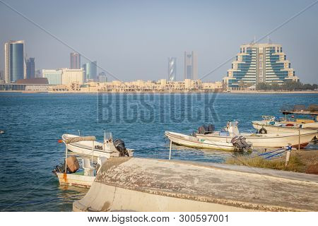 Panorama Of Downtown Manama In Bahrain. Manama, Bahrain.
