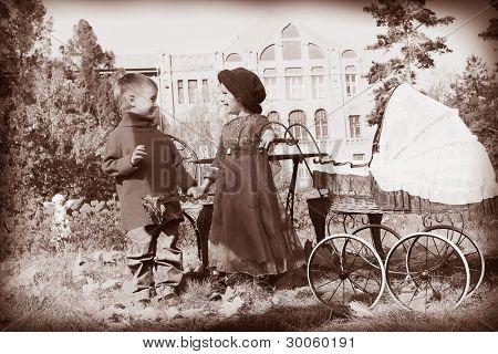 Cute children having a rest at a park. Retro style.