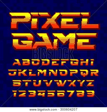 Pixel Game Alphabet Font. Digital Pixel Gradient Letters And Numbers. 80s Retro Arcade Video Game Ty
