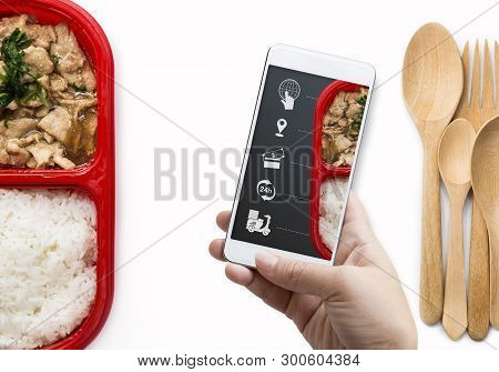Food Delivery Service For Order Online And Icon Media. Woman Hand Holding Smart Phone For Ordering F