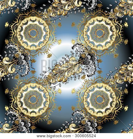 Vector Golden Floral Ornament Brocade Textile And Glass Pattern. Blue And Neutral Colors With Golden
