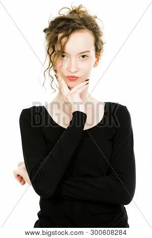 Teenaged Dressy Girl In Black Dress Posing In Studio On White Background - Beautiful Young Blond Wom