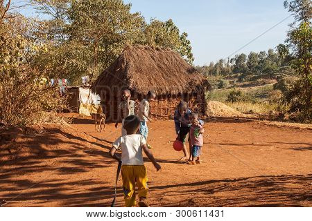 Tanzania - September 19. 2012: Children Playing Happily In An African Village, Tanzania