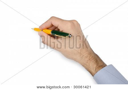 Hand with pen writing on white