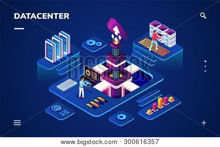 Data Center Or Centre With Hardware Or Software Engineers. Isometric Room With People Working With B