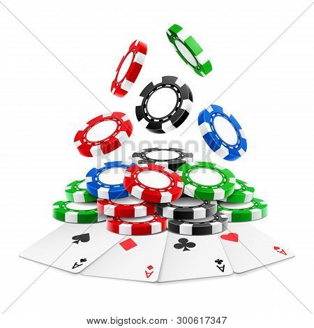 3d Realistic Chips Falling On Stack Or Heap Of Realistic Gambling Tokens And Playing Cards. Aces Of