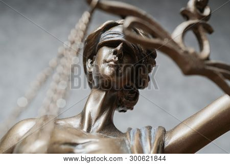 Lady Justice Or Iustitia - Detail Of Blind Or Blindfolded Bronze Statue - Law And Legislation Symbol