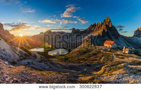Beautiful sunrise in Tre Cime di Lavaredo National Park, Dolomites, Italy