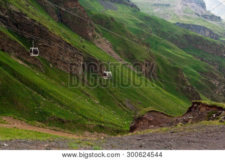 Ropeway In Caucasus Mountains. Cable Car In Mountain. Beautiful Mountain Landscape Of Caucasus. Moun