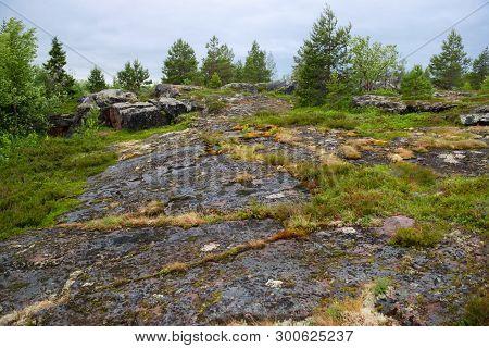 Stone Coast Of The White Sea Near The Village Of Rabocheostrovsk, Popov Island, Kemsky District, Rep