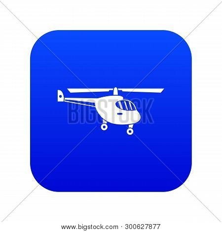 Helicopter Icon Digital Blue For Any Design Isolated On White Vector Illustration