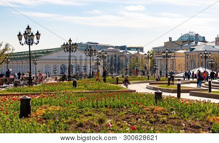 Moscow, Russia - April 29, 2019: Manezhnaya Square In Sunny Day. Public Park Near Kremlin And Moscow