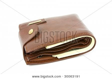 brown purse with the big pack of dollars