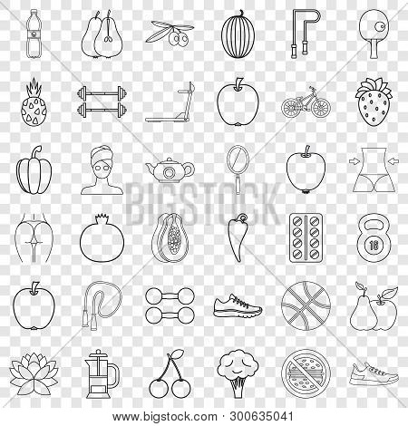 Healthy Food Icons Set. Outline Style Of 36 Healthy Food Vector Icons For Web For Any Design