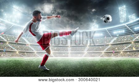 Sport. Professional Soccer Player Kicking A Ball. Night 3d Stadium With Fans And Flags. Soccer Conce