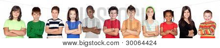 Children?s group with crossed arms isolated on white background poster