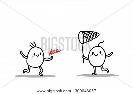 Happy Cartoon People Playing. Catching Idea With Butterfly Net