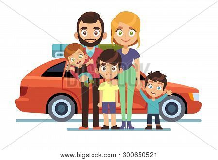 Family Car. Happy Young Parents Father Mother Kids Pet Auto Lifestyle People Automobile Travel Vacat