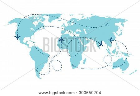 Airplane Route. Plane Trace Line, Aeroplanes Pathways Flight Lines, Planning Routes Travels Pointers