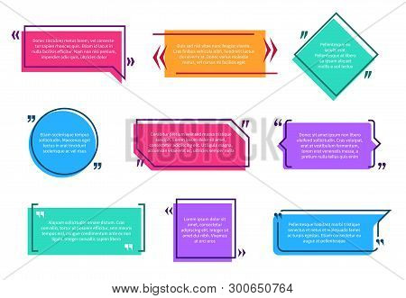 Texting Boxes. Colored Quote Box Speech Bubble Template Text Note Brackets Citation Message Page Emp