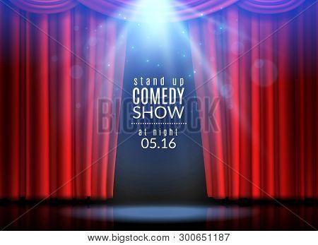 Red Curtain Scene. Stage Open Curtains Theater Opera Cinema Show Broadway Cabaret Club Spotlight Awa