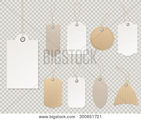 Blank Price Tags. Paper Tag Template, Blank Labels Gift Card Decorative Sticker Rope Empty Cardboard