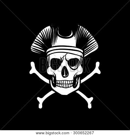 Death Flag. Retro Wallpaper Vintage Islands Sing Nautical Travel Black Background With Crossbones An