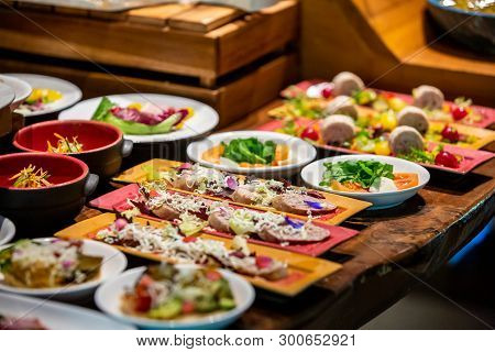 Sunday Brunch Buffet Set Up In Luxury Hotel, Brunch With Family In Restaurant. Various Food