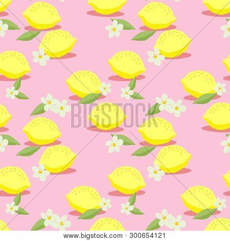Fresh Lemons Seamless Pattern Vector. Hand Drawn Of Colorful Citrus Fruit. Summer Fruit Concept.