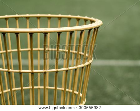 The Basket Of Chairball Game Beside The Field