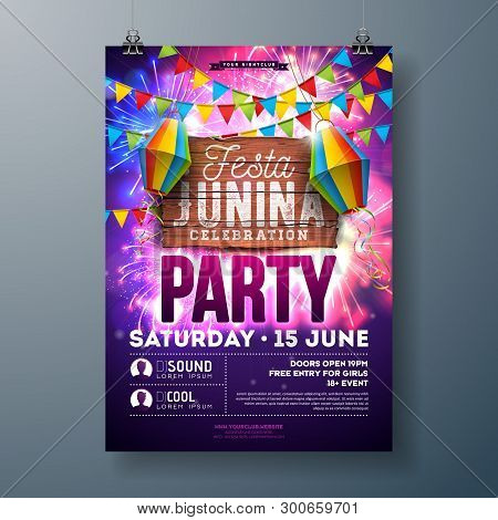 Festa Junina Party Flyer Design With Flags, Paper Lantern And Typography Design On Firework Backgrou