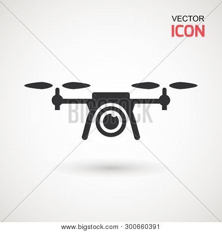Photo And Video Drone Icon. Drone Quadrocopter With Action Camera.