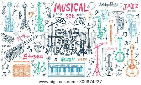 Funny Cool Sketch Set, Theme Music Party, Doodle Style Lettering, Musical Notes, Instruments Slogan