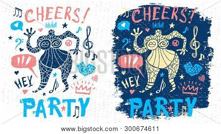 Funny Cool Dude Character Theme Music Party Doodle Style Lettering Slogan Graphic Art For T Shirt De