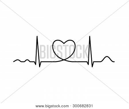 Ekg Line With Heart. Heartbeat. Electrocardiography. Medical Design. Vector Illustration.
