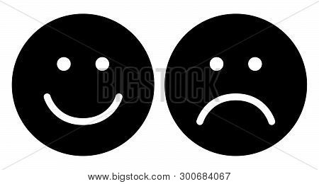 Happy And Sad Face Icons. Face Symbols. Flat Stile. Black And White Vector Illustration.